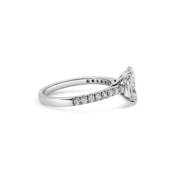 Oval Diamond Microset Engagemnt Ring PLatinum Side