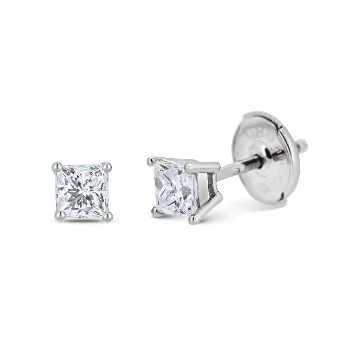 Piper Princess Cut Diamond Solitaire Claw Set Earrings
