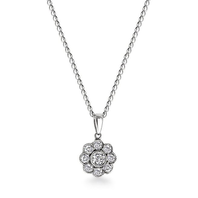 Noble Round Cut Diamond Cluster Pendant