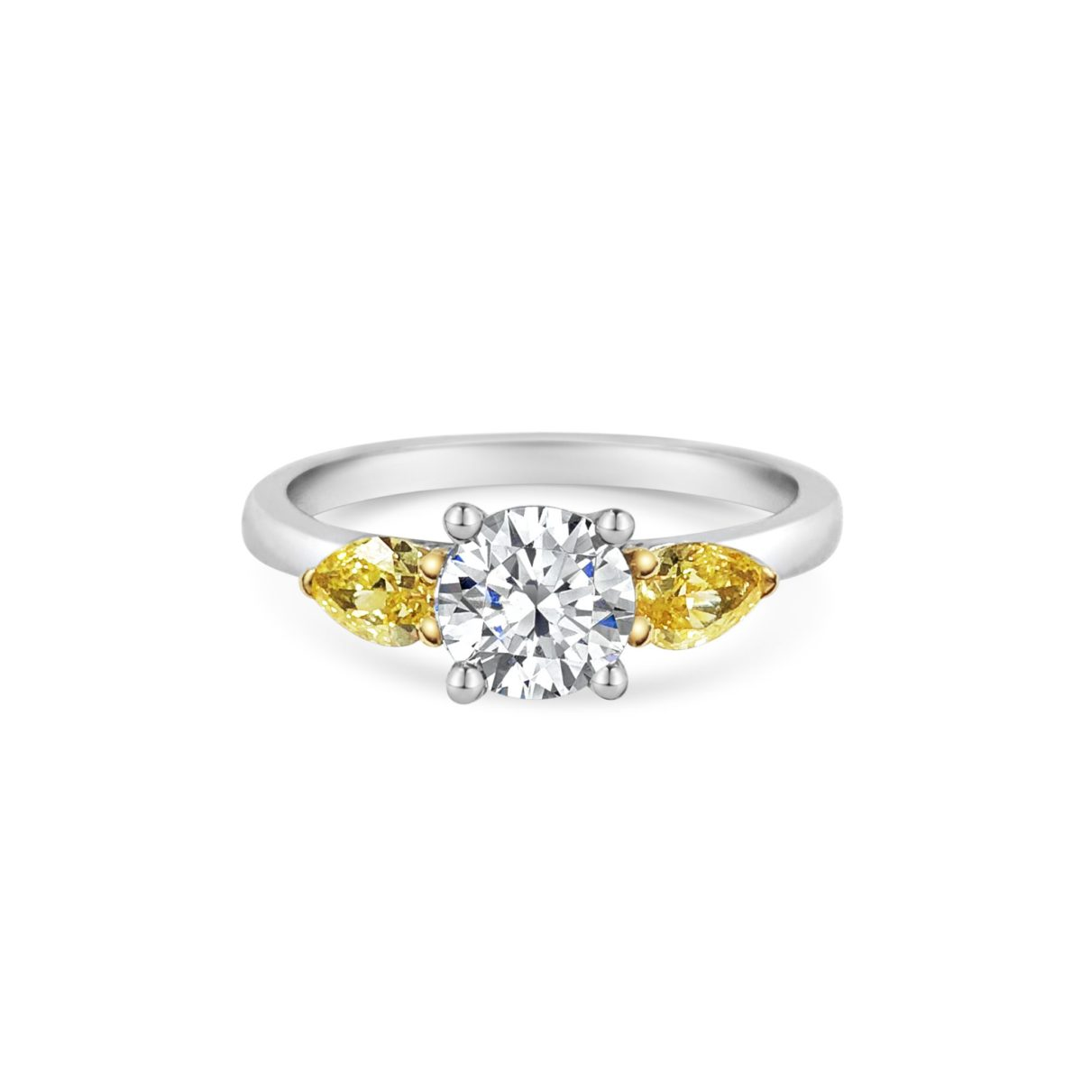 Taylor Round Cut Diamond Natural Fancy Intense Yellow Pear Diamond Three Stone Engagement Ring