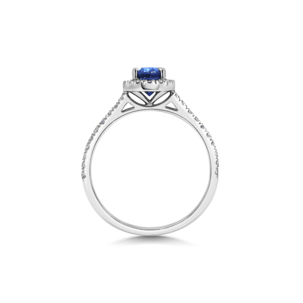 Adalene Sapphire Oval Diamond Halo Engagement Ring Side View