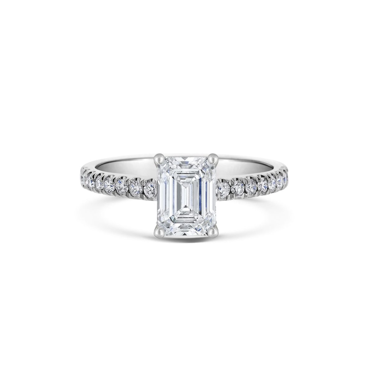 Adina Emerald Cut Diamond Microset Engagement Ring