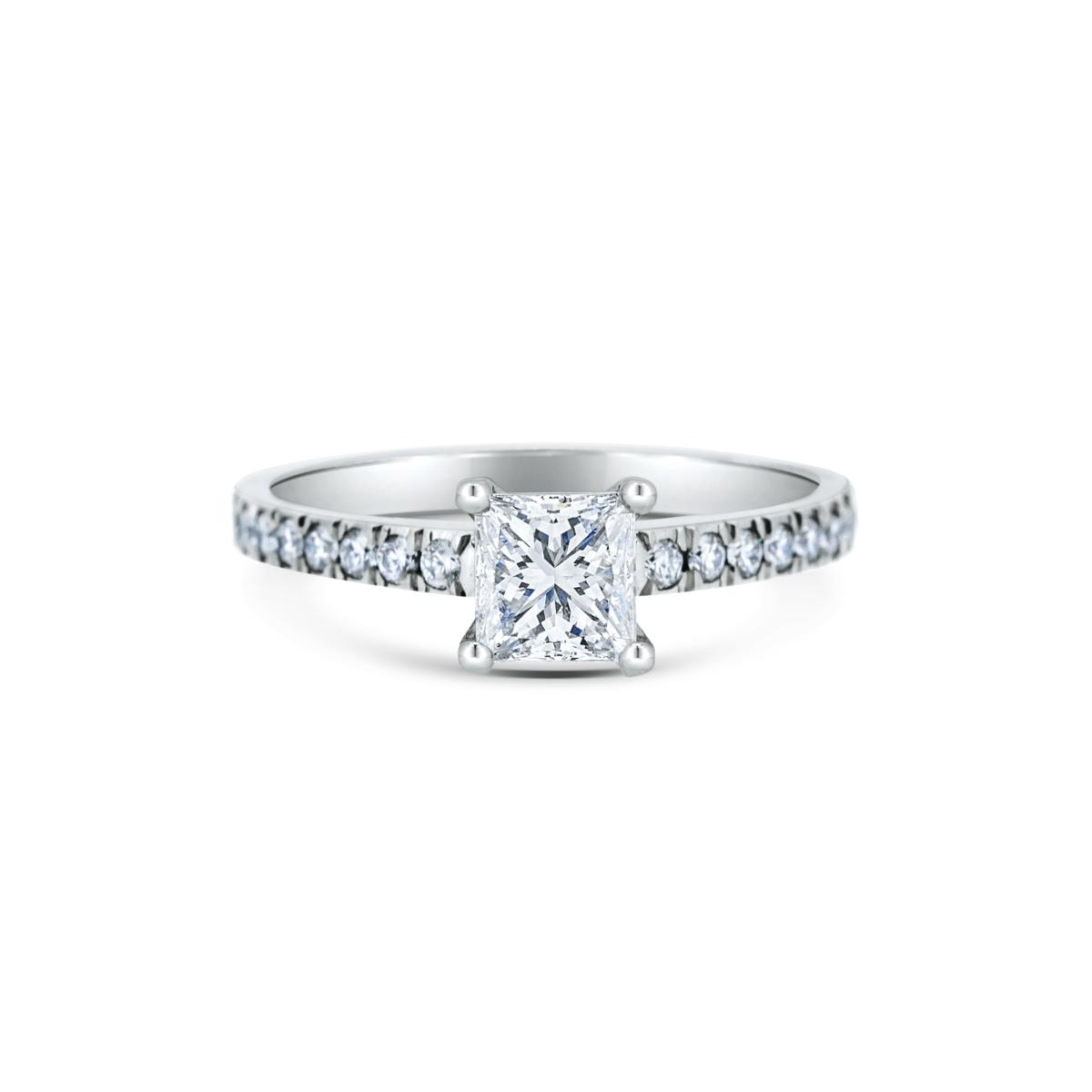 Adina Princess Microset Engagement Ring Front View
