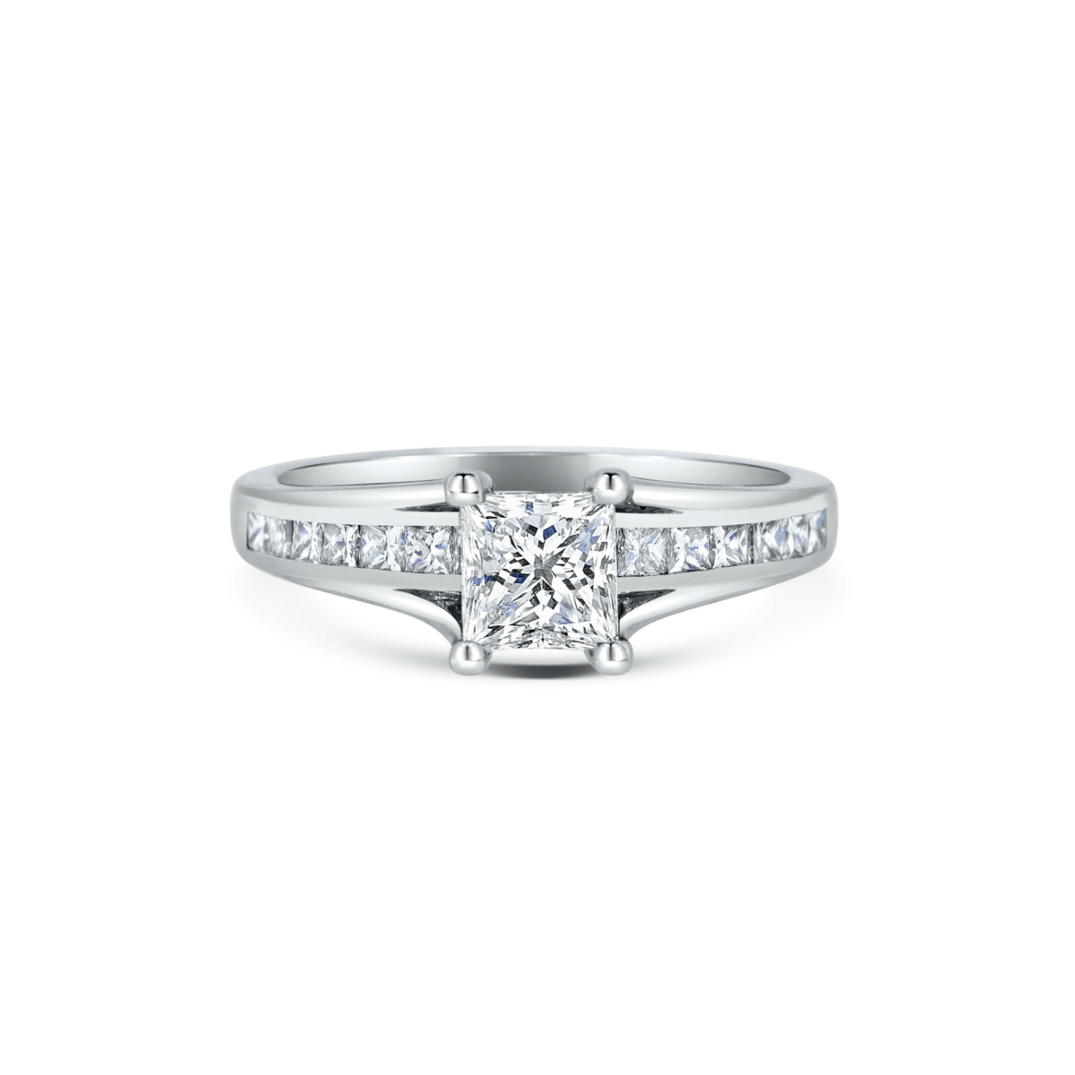 Anastasia Princess Channel Set Princess Shoulders Engagement Ring Front View