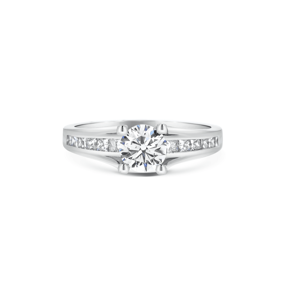 Anastasia Round Channel Set Princess Shoulders Engagement Ring Front View