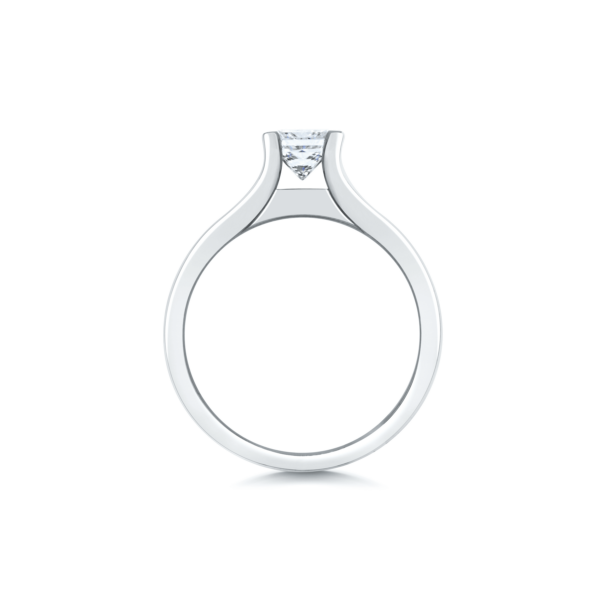 Anastasia Round Channel Set Princess Shoulders Engagement Ring Side View