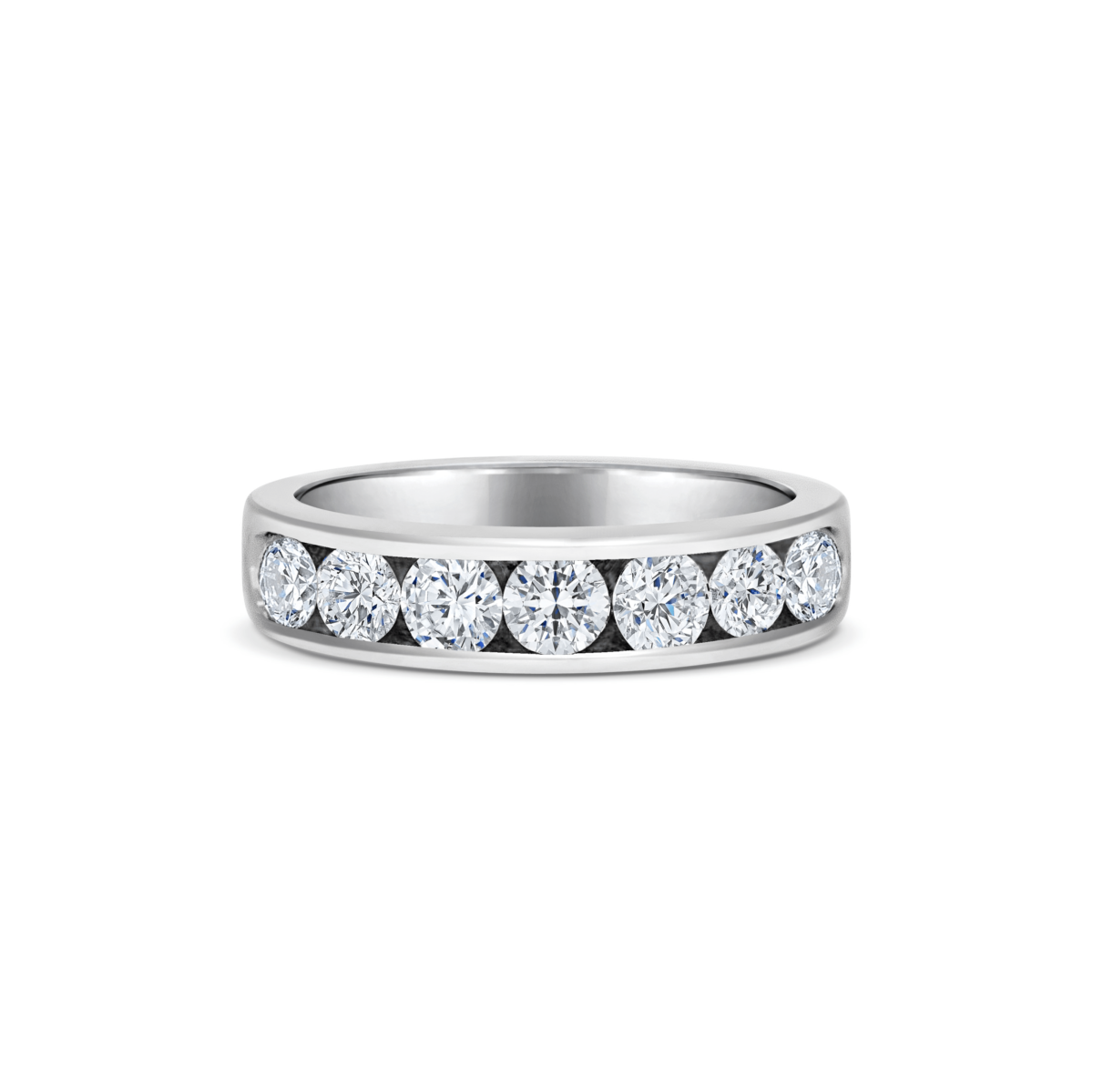 Bella Round Cut Diamond Channel Set Eternity Ring Front View