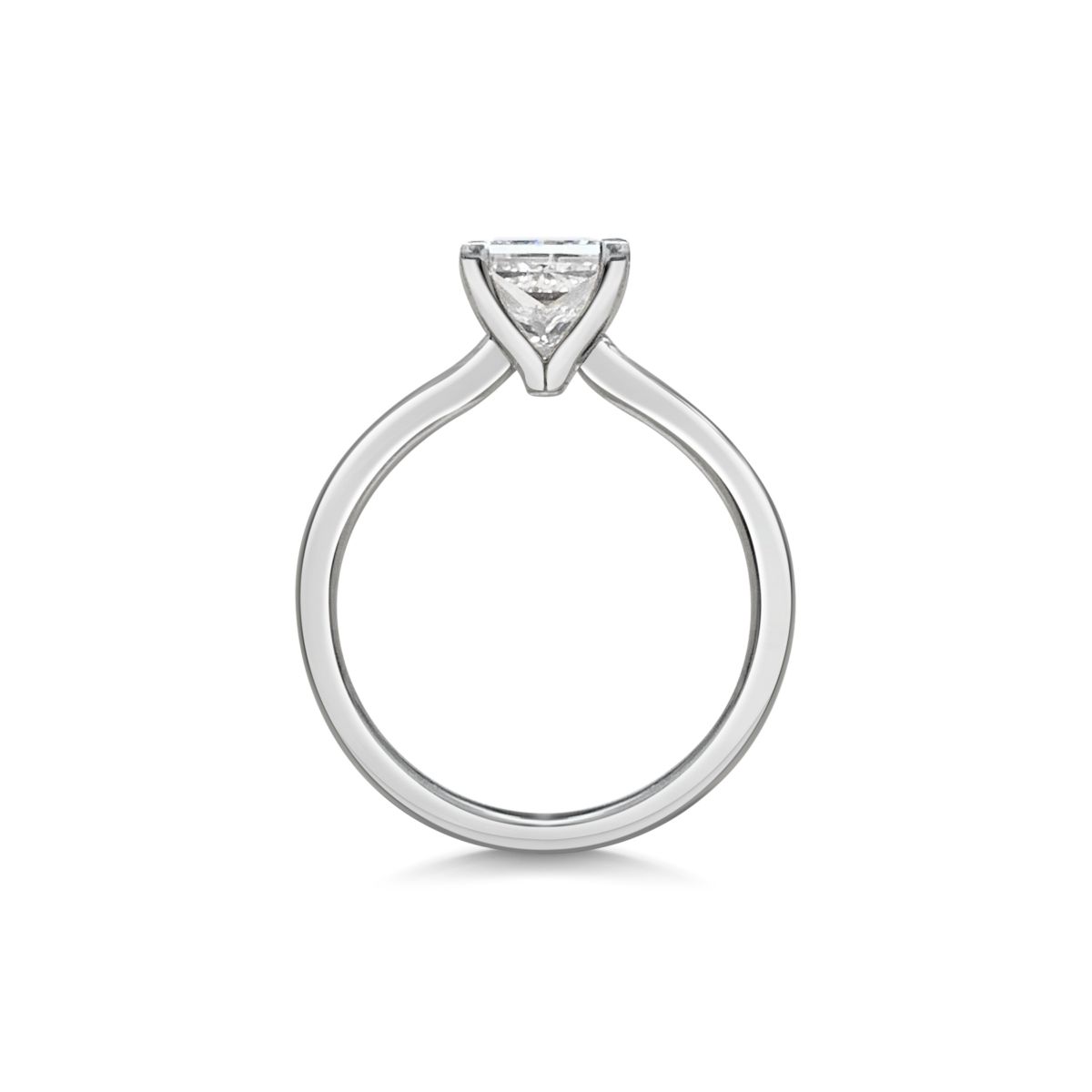 Charlotte Princess Cut Diamond Solitaire Engagement Ring Side View