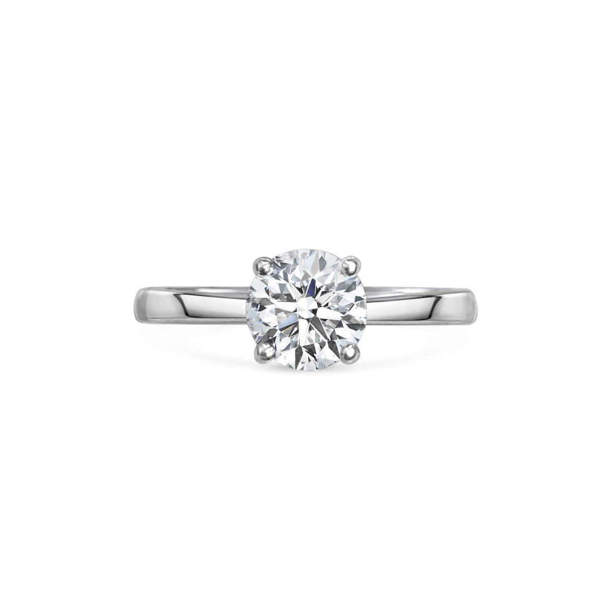 Charlotte Round Cut Diamond Solitaire Engagement Ring Front View