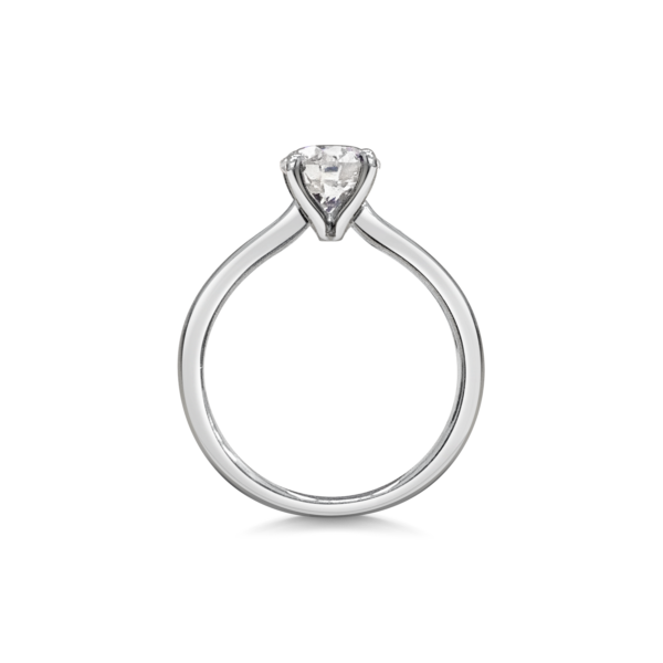 Charlotte Round Cut Diamond Solitaire Engagement Ring Side View