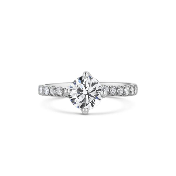 Chloe Round Cut Diamond Twist Engagement Ring Front View