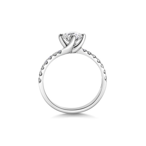 Chloe Round Cut Diamond Twist Engagement Ring Side View