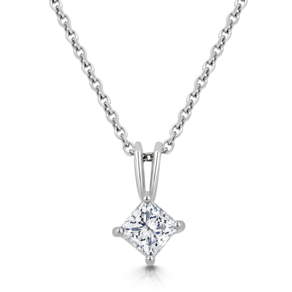 Harper Princess Cut Diamond Solitaire Claw Set Pendant