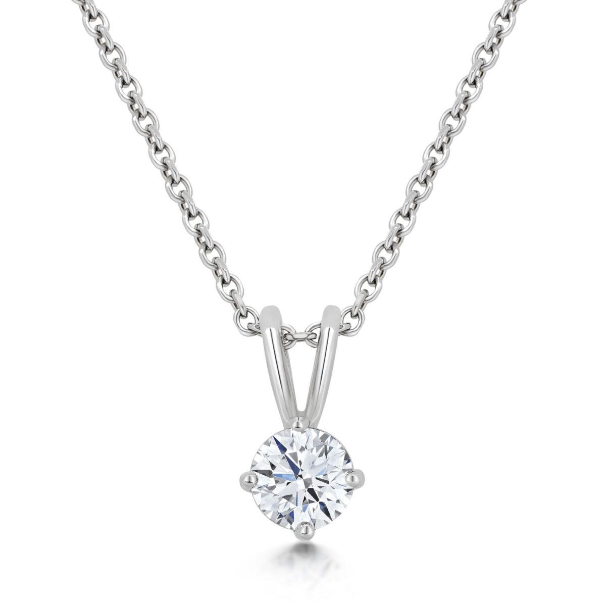 Ellie Round Cut Diamond Solitaire Pendant