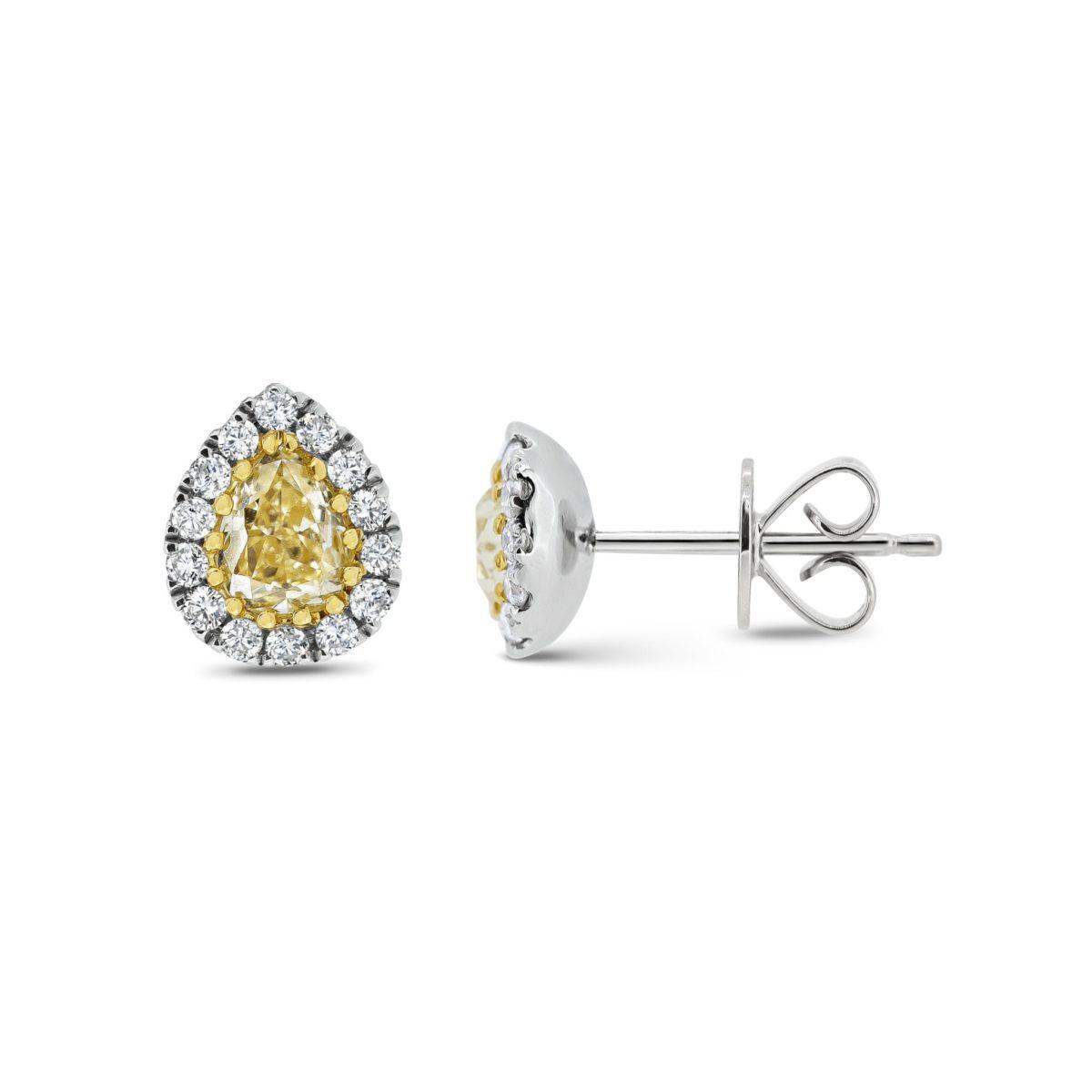 Megan Pear Cut Natural Fancy Intense Yellow Diamond Halo Earrings