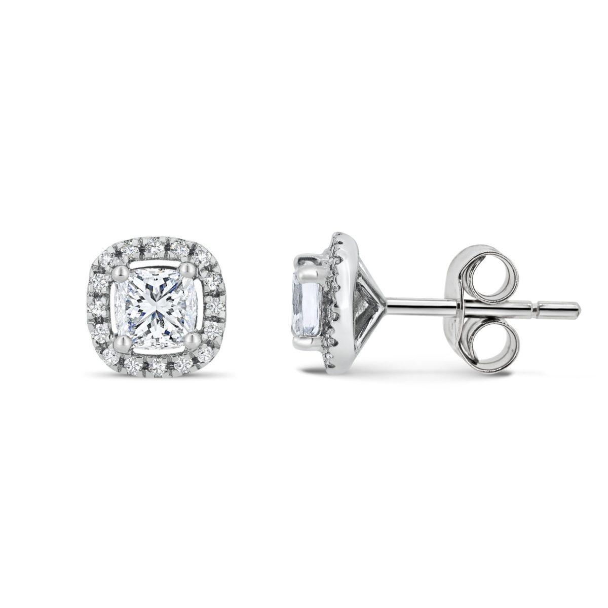 Lauren Cushion Cut Diamond Halo Mircoset Earrings