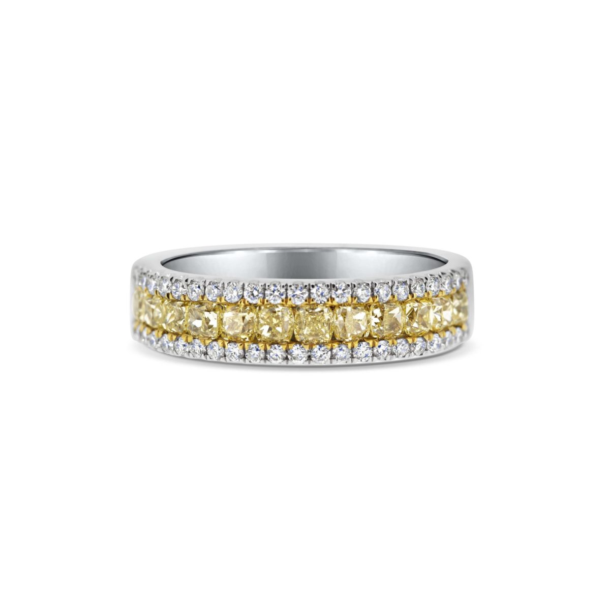 Peta Cushion Cut Natural Fancy Intense Yellow Diamond Microset Eternity Ring