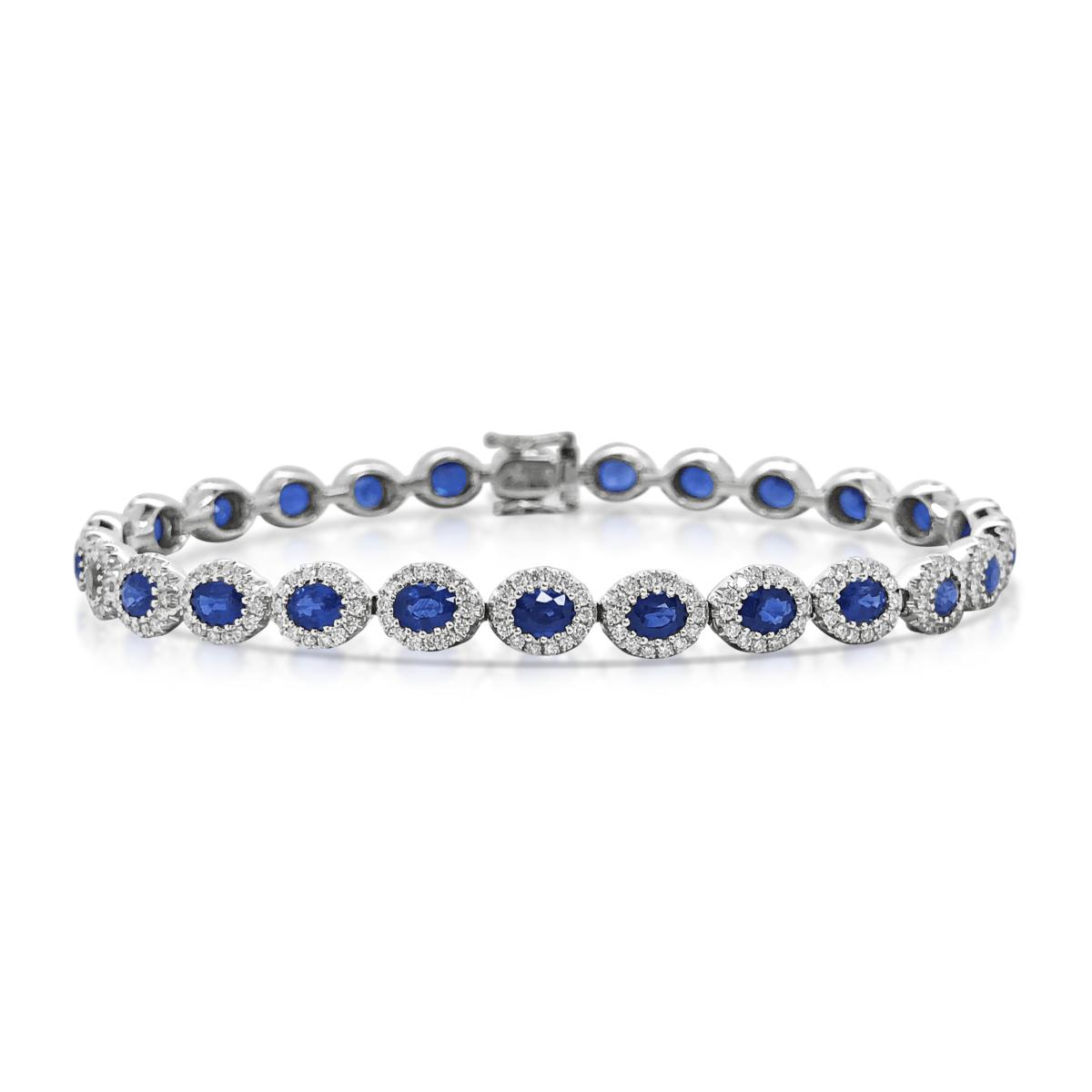 Diana Oval Blue Sapphire Halo Tennis Bracelet