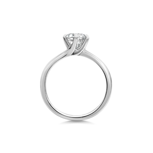 Elena Round Cut Diamond Six Claw Twist Solitaire Engagement Ring Side View