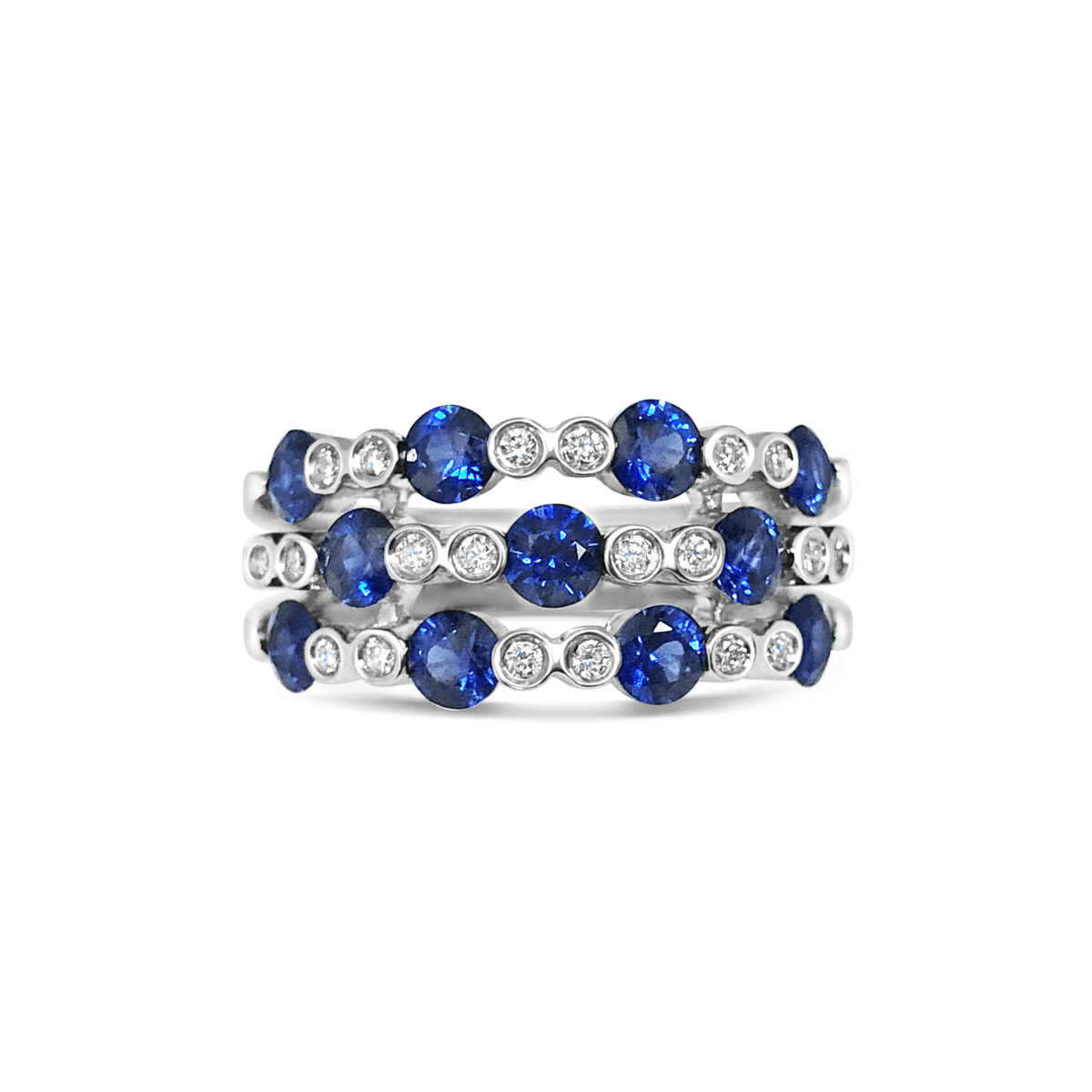 Eliza Sapphire & Diamond Eternity Ring Front View