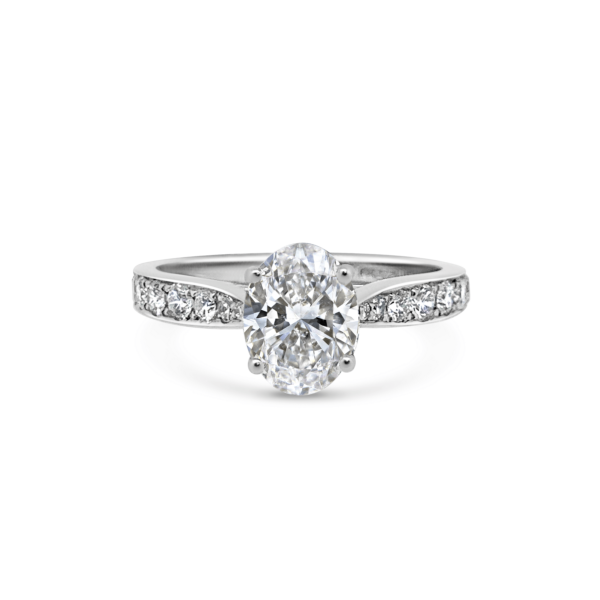 Ella Oval Diamond Thread Set Engagement Ring Front View