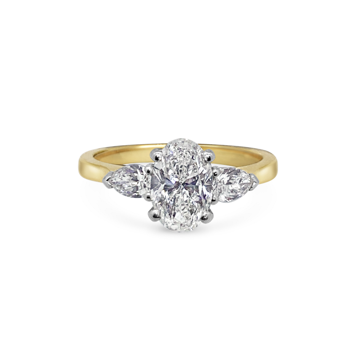 Elsa Oval Three Stone Pear Diamond Engagement Ring Front View