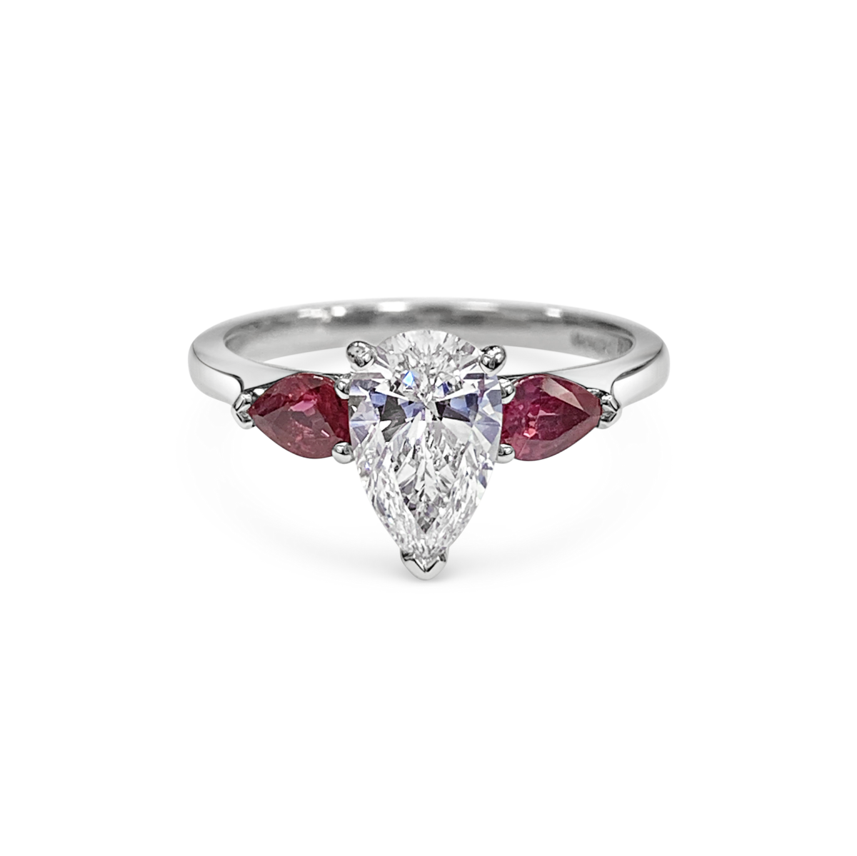 Elsa Pear Cut Diamond Three Stone Ruby Pears Engagement Ring Front View