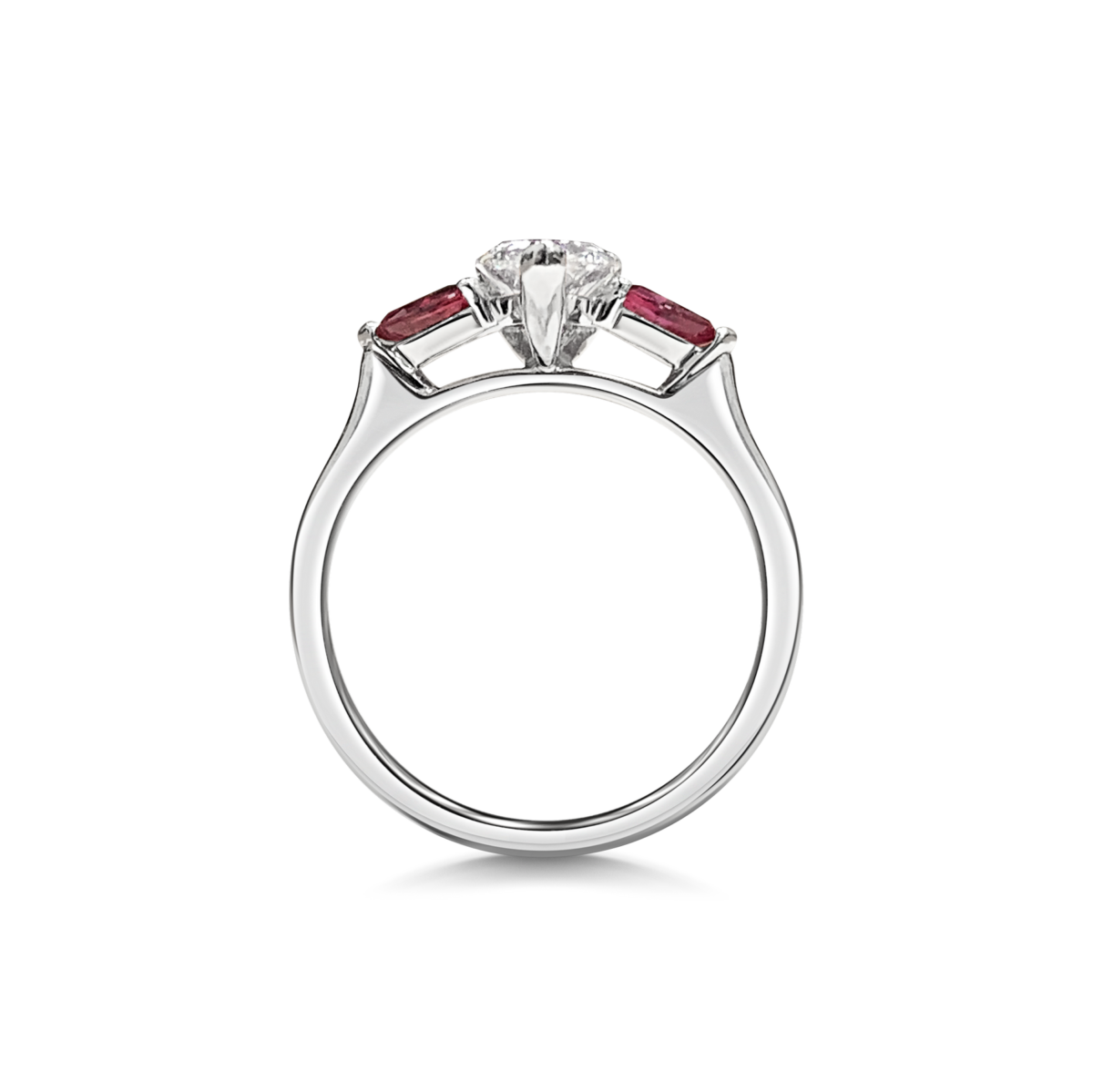 Elsa Pear Cut Diamond Three Stone Ruby Pears Engagement Ring Side View