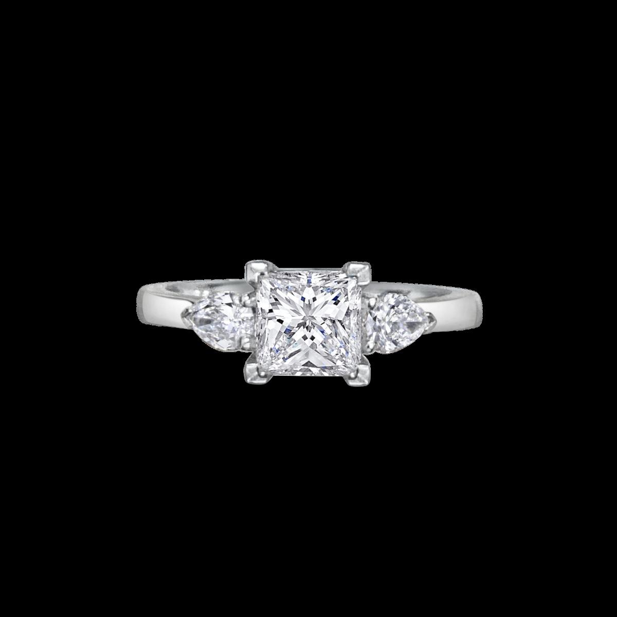 Elsa Princess Three Stone Pear Diamond Engagement Ring Front View