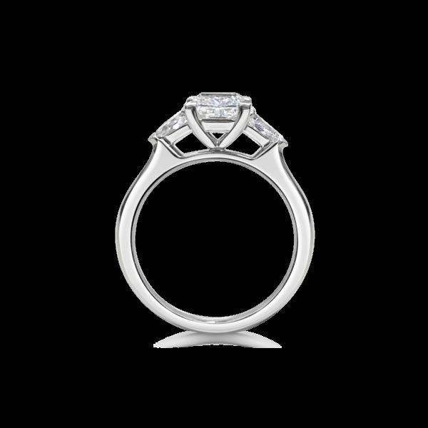 Elsa Princess Three Stone Pear Diamond Engagement Ring Side View