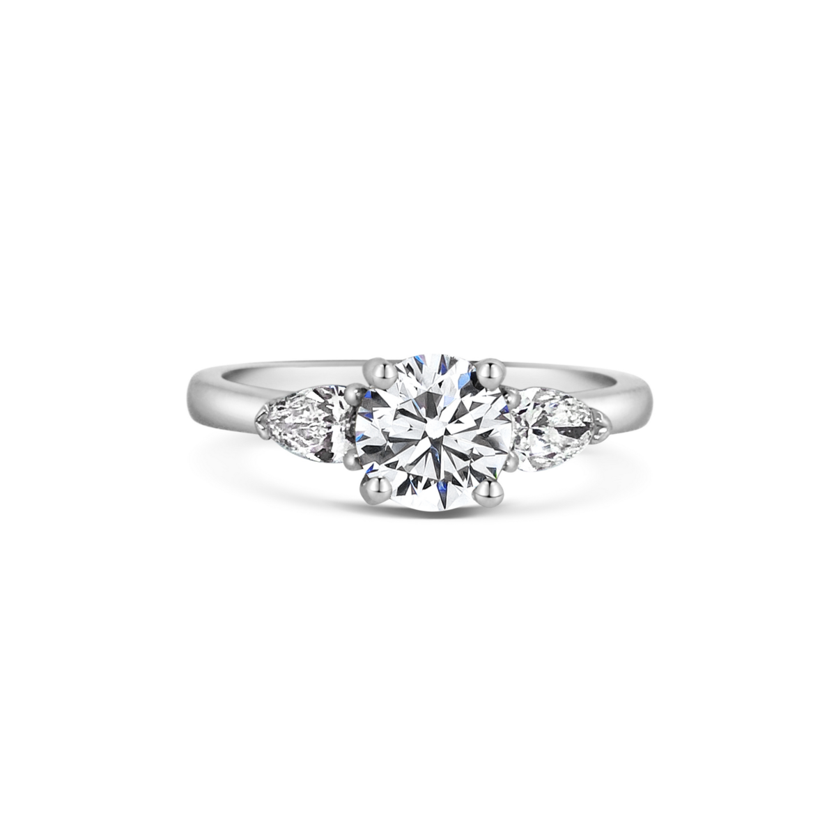 Elsa Round Three Stone Pear Diamond Engagement Ring Front View