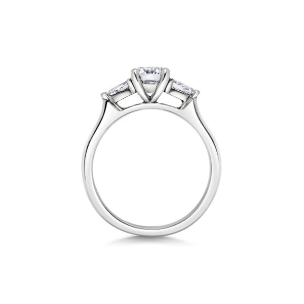 Elsa Round Three Stone Pear Diamond Engagement Ring Side View (2)