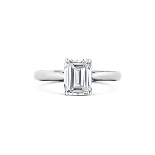 Emele Emerald Solitaire Diamond Engagement Ring Front View