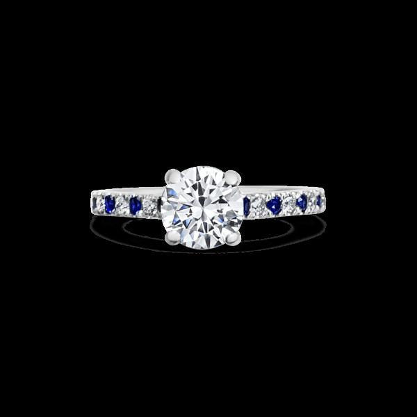 Emily Round Cut Diamond Microset Diamond & Sapphire Engagement Ring Front View1