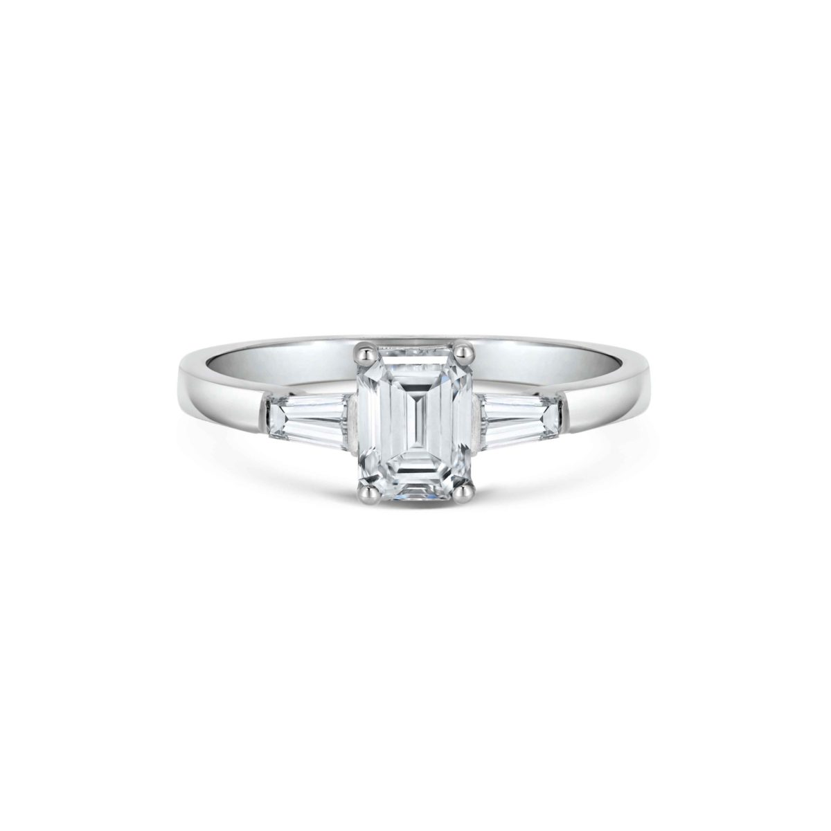 Florence Emerald Cut Diamond Tapered Baguette Three Stone Engagement Ring