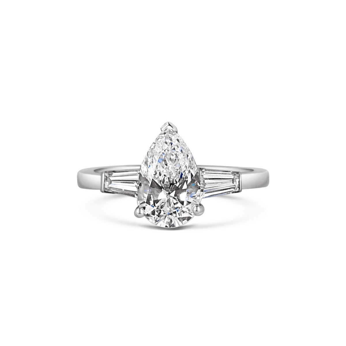 Florence Pear Diamond with Tapered Baguette Three Stone Ring Front View