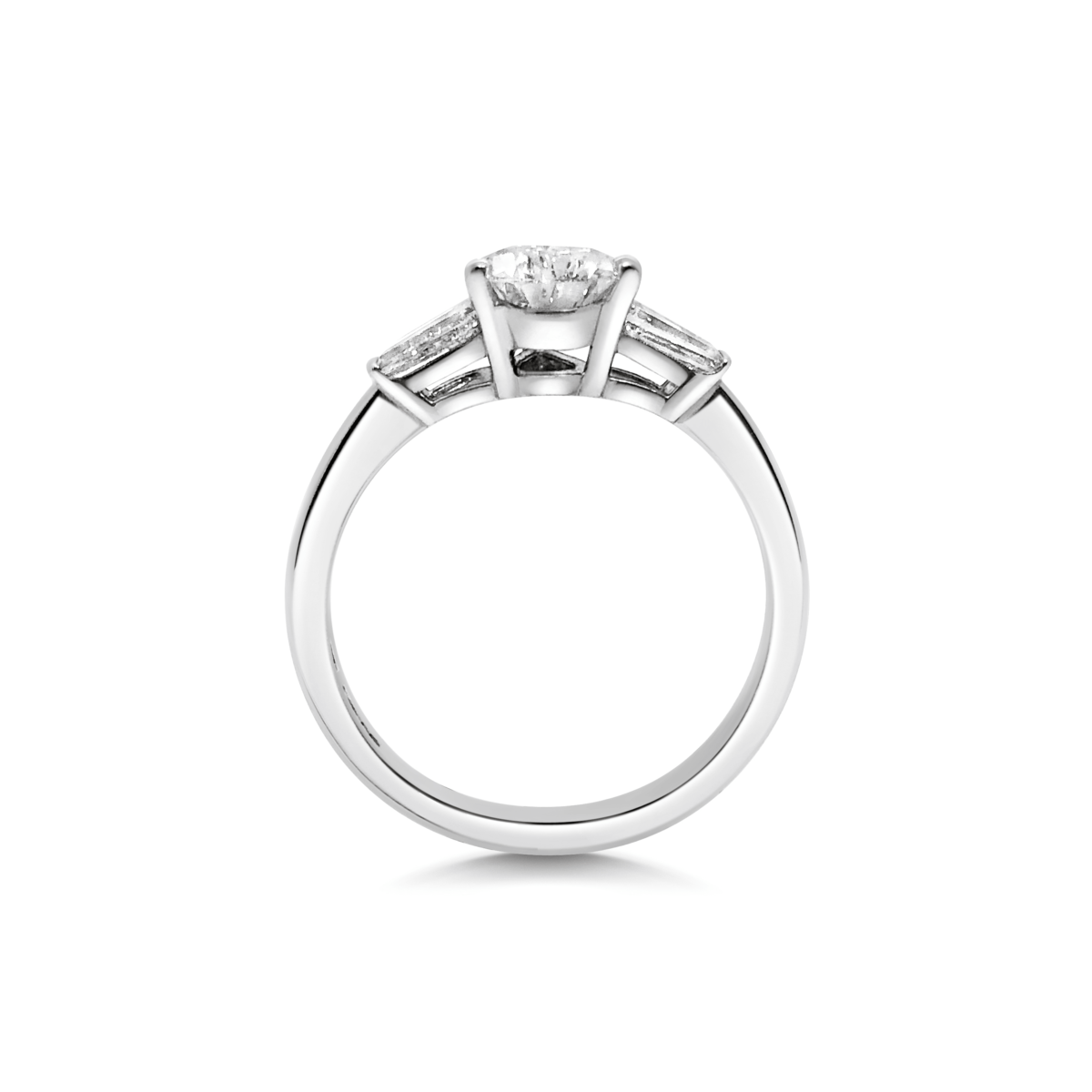 Florence Pear Diamond with Tapered Baguette Three Stone Ring Side View