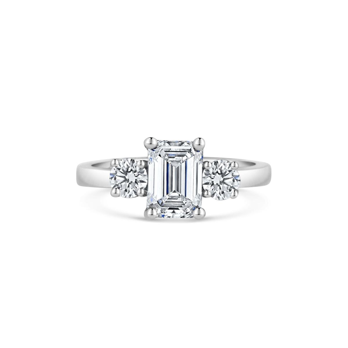 Floria Emerald & Round Diamond Three Stone Engagement Ring Front View