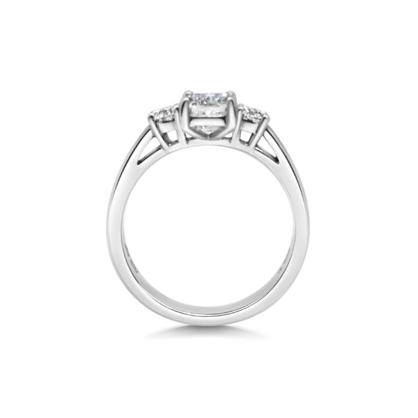 Floria Emerald & Round Diamond Three Stone Engagement Ring Side View