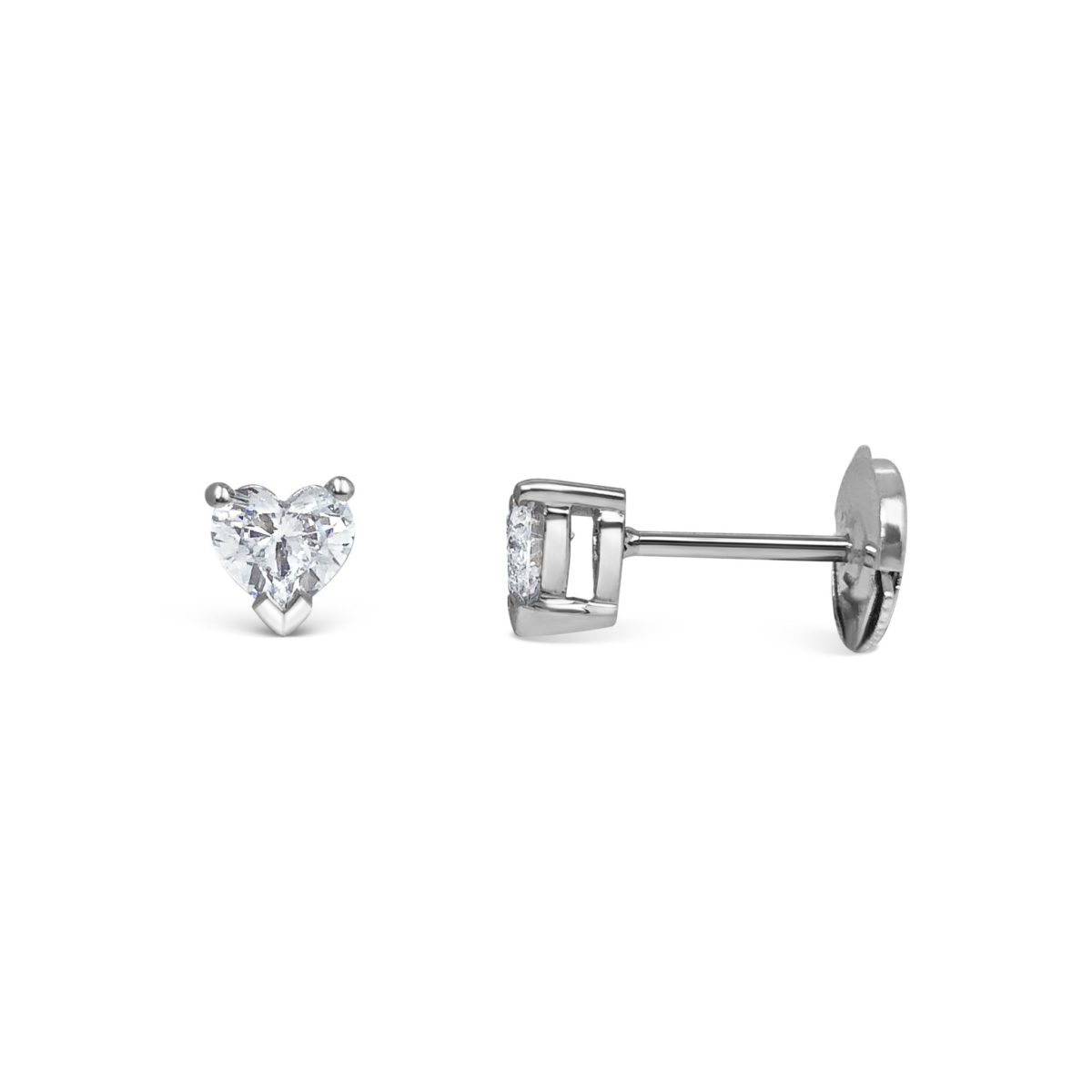 Madison Heart Cut Diamond Solitaire Claw Set Earrings