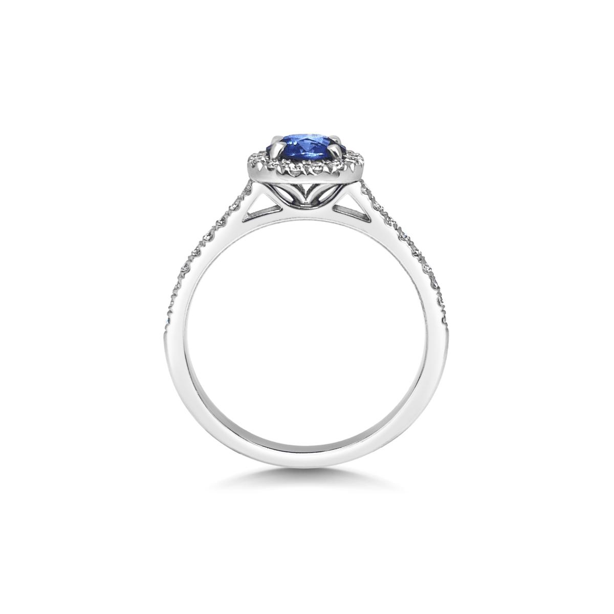 Heidi Blue Sapphire Cushion Cut Halo Microset Engagement Ring Side View