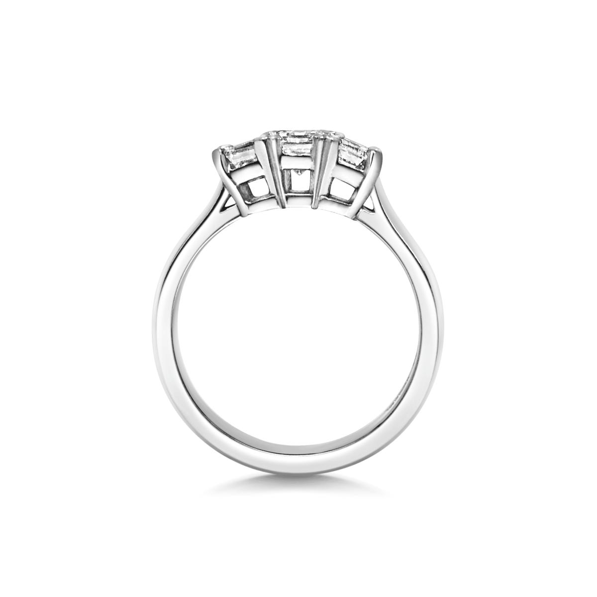 Ismay Emerald Diamond Three Stone Engagement Ring Side View