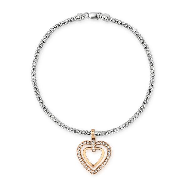 Ivy Heart Shape Rose Gold Diamond Bracelet Front View