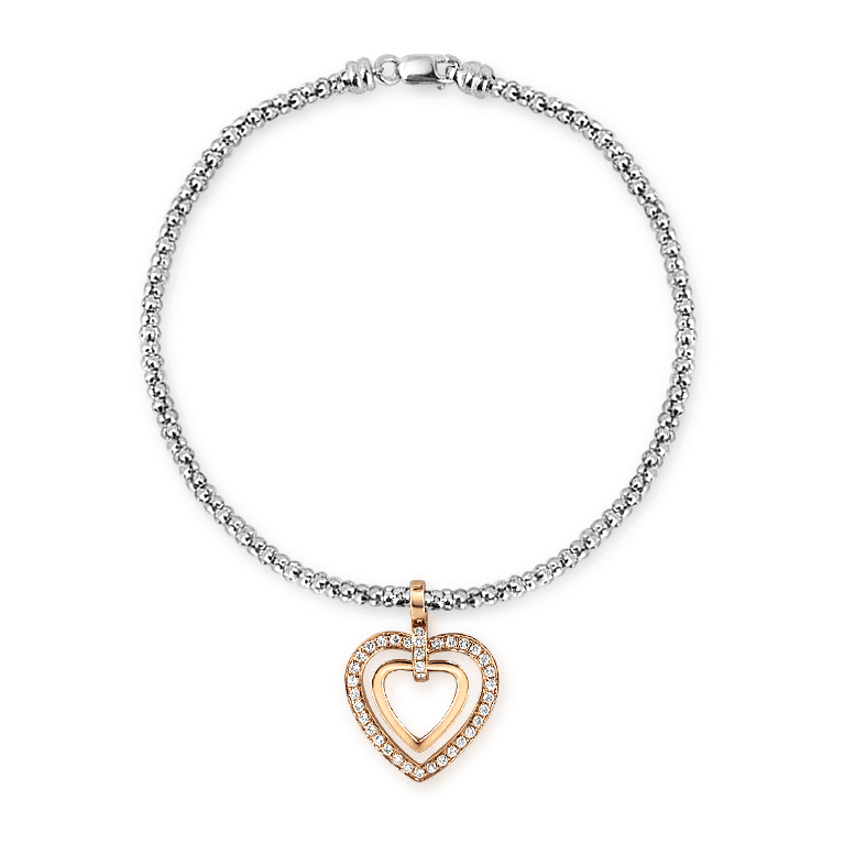 Ivy Heart Shape Rose Gold Diamond Bracelet Front View