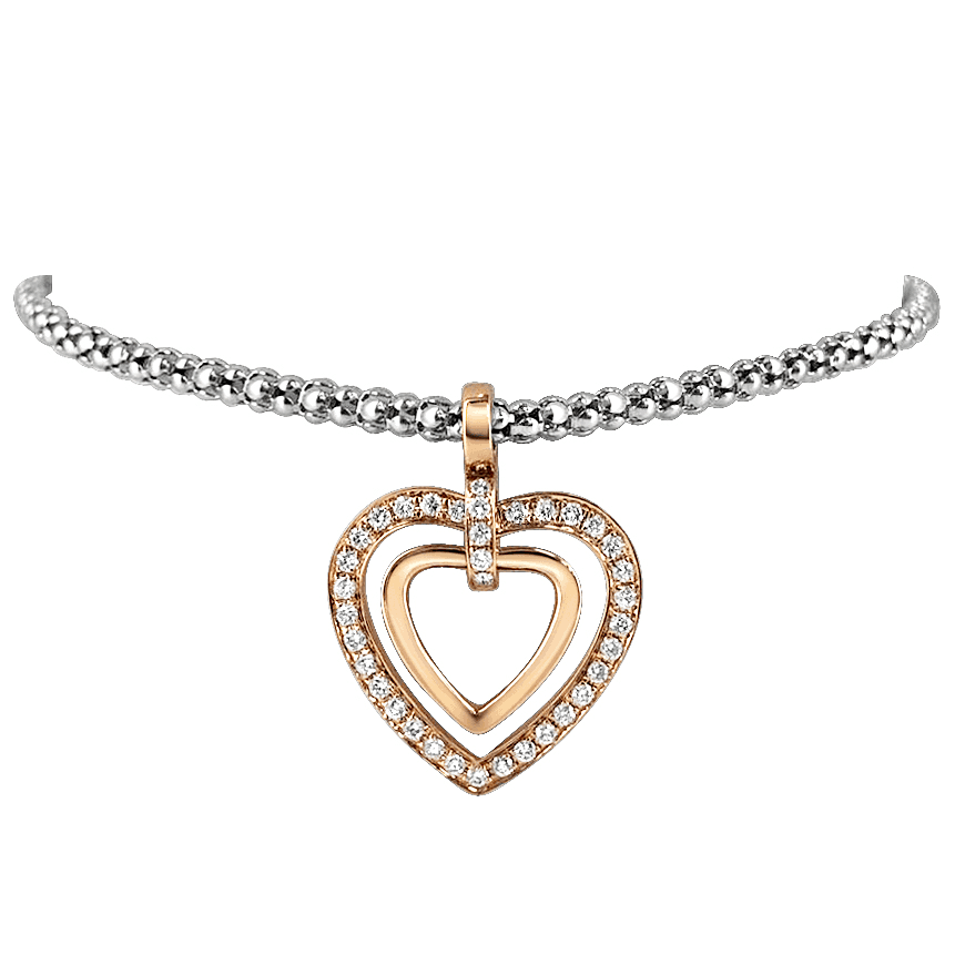 Ivy Heart Shape Rose Gold Diamond Bracelet Side View