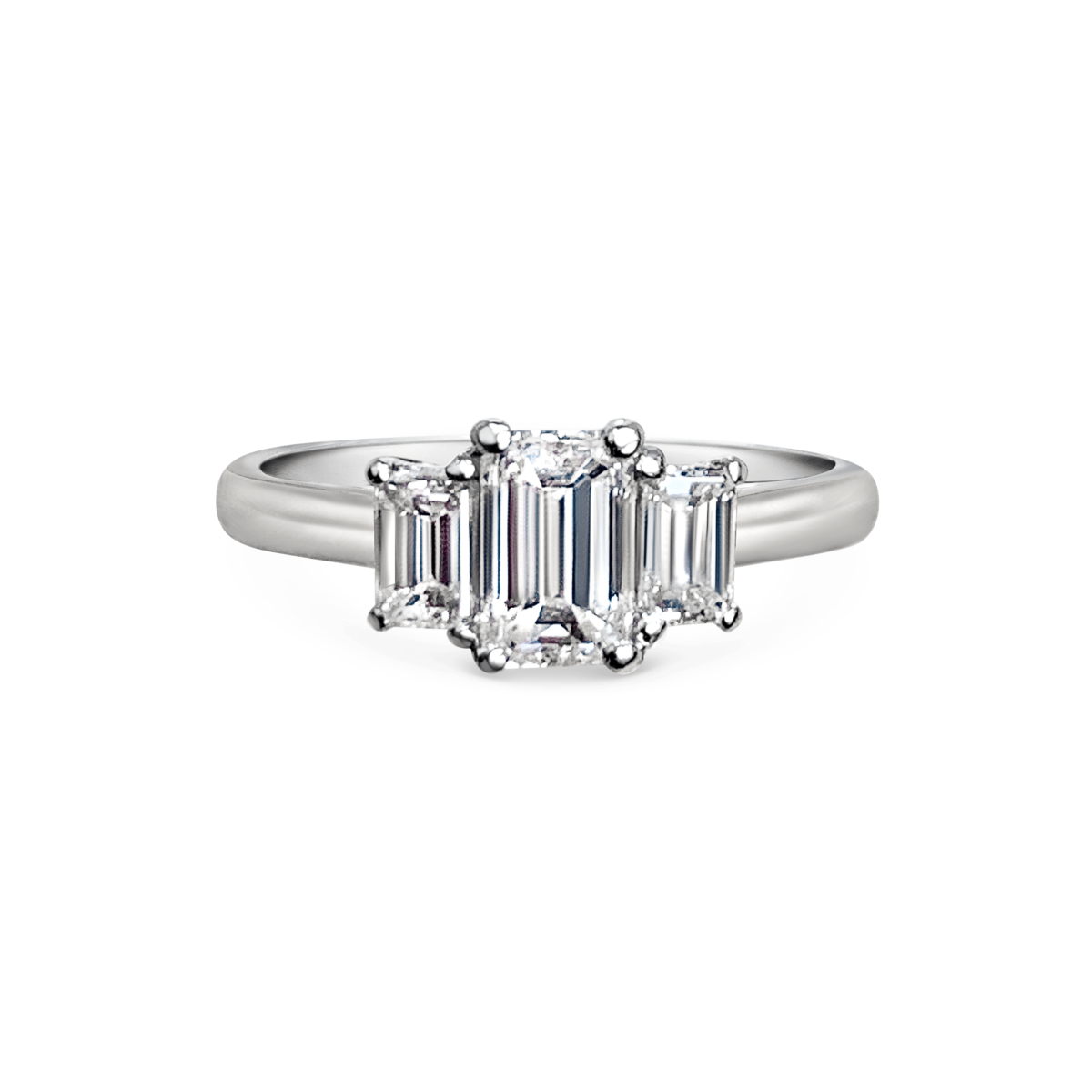 Kate Emerald Cut Diamond Three Stone Engagement Ring Front View