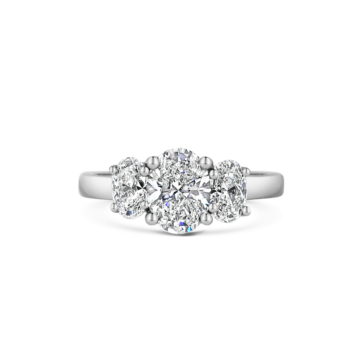 Kate Oval Cut Diamond Three Stone Engagement Ring Front View
