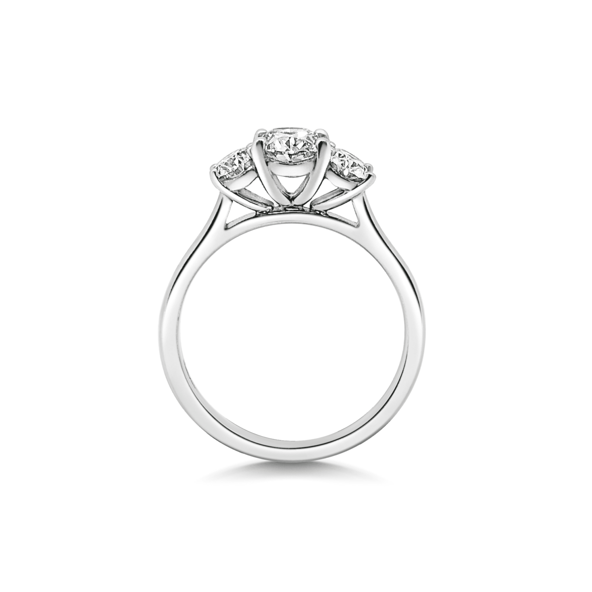 Kate Oval Cut Diamond Three Stone Engagement Ring Side View