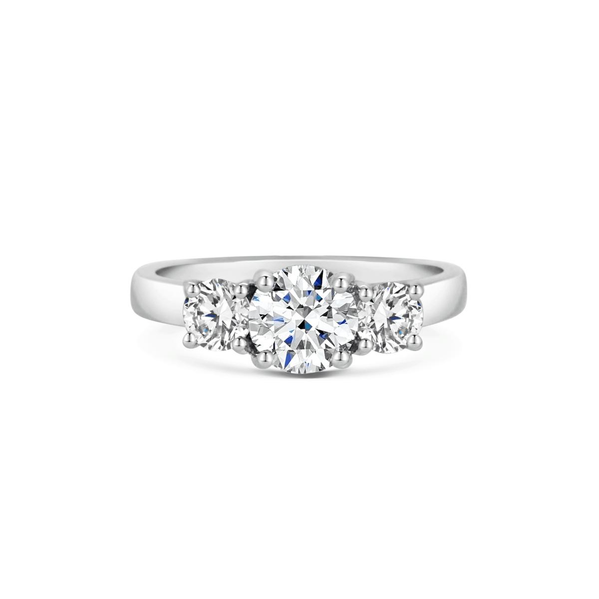 Katriane Round Cut Diamond Three Stone Engagement Ring Front View