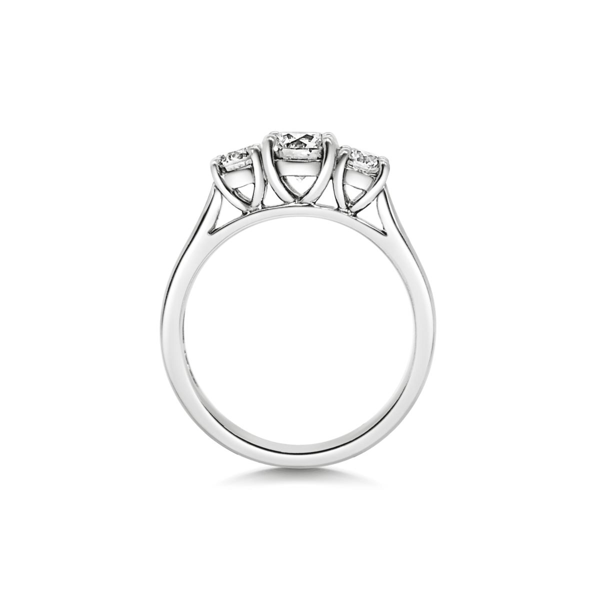 Katriane Round Cut Diamond Three Stone Engagement Ring Side View
